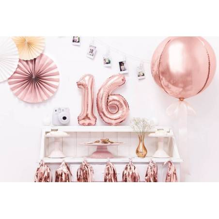 Ballon Feuille numéro 1 35cm or rose