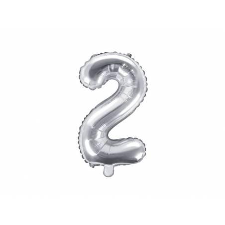 Ballon en aluminium numéro 2 35cm argent