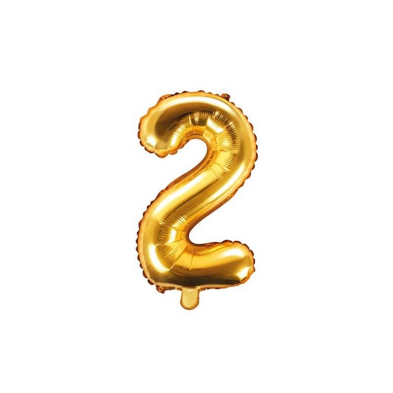 Ballon en aluminium numéro 2 35cm doré