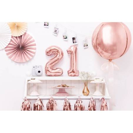 Ballon en aluminium numéro 2 35cm or rose