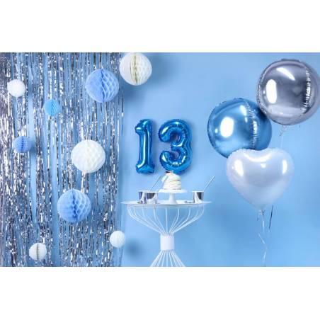 Ballon en aluminium numéro 3 35cm bleu