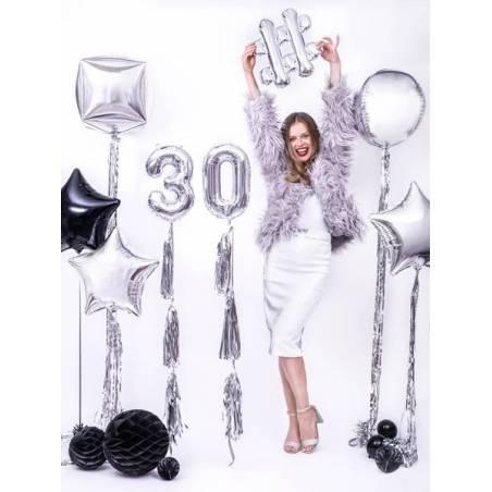 Ballon en aluminium numéro 3 35cm argent