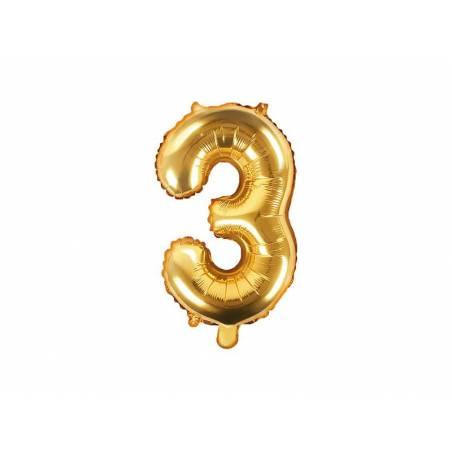 Ballon en aluminium numéro 3 35cm doré