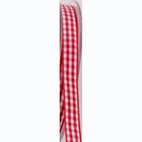 Ruban vichy 10 mm - Couleur rouge