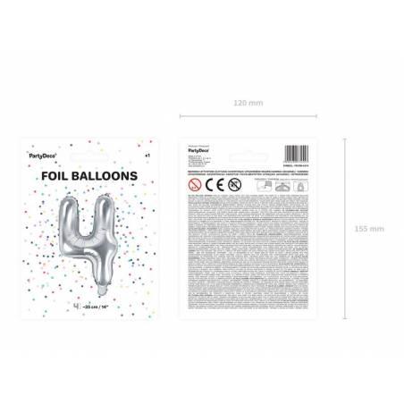 Ballon en aluminium numéro 4 35cm argent