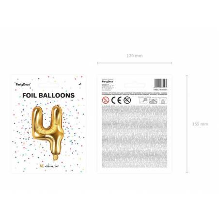 Ballon en aluminium numéro 4 35cm doré