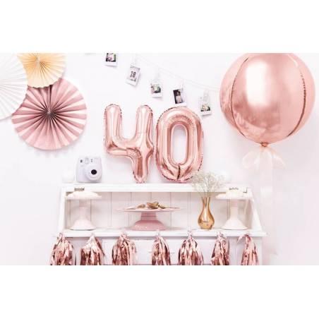 Ballon d'aluminium numéro 4 35cm or rose