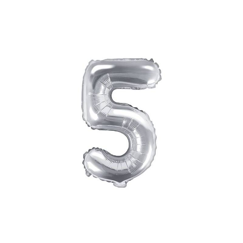 Ballon en aluminium numéro 5 35cm argent