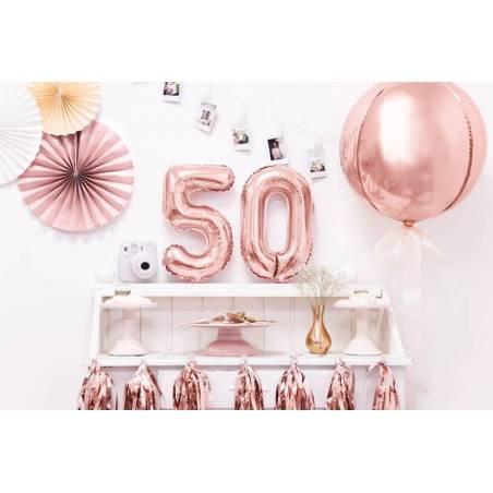 Ballon en aluminium numéro 5 35cm or rose