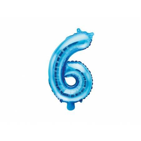 Ballon d'aluminium numéro 6 35cm bleu