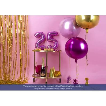 Ballon d'aluminium numéro 6 35cm rose foncé