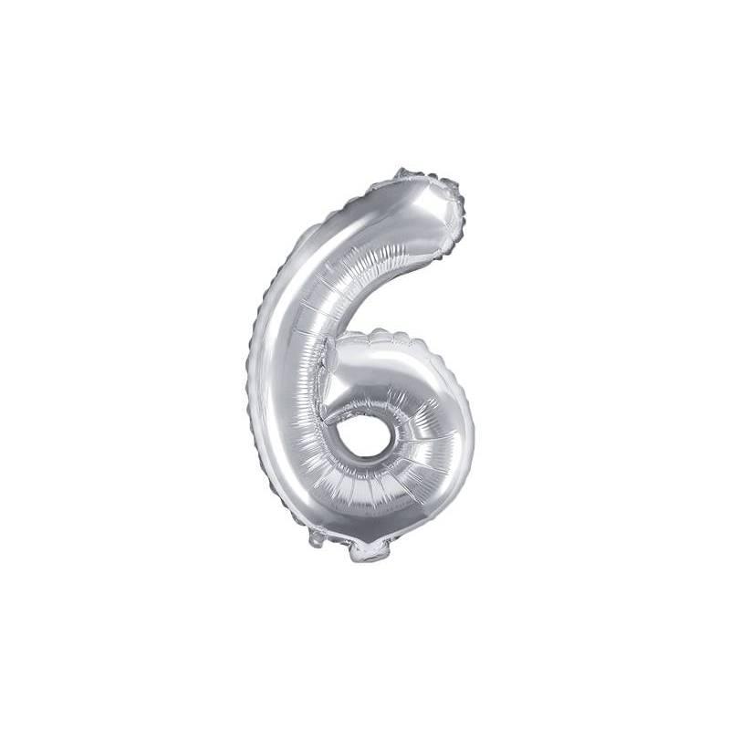 Ballon en aluminium numéro 6 35cm argent