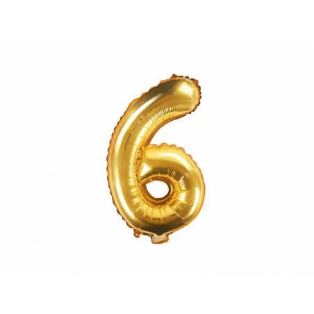 Ballon d'aluminium numéro 6 35cm doré