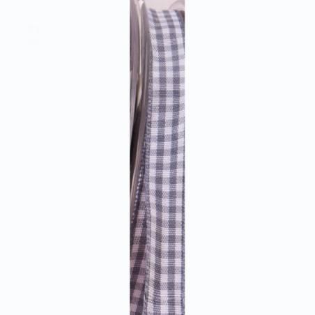 Ruban vichy 10 mm - Couleur gris