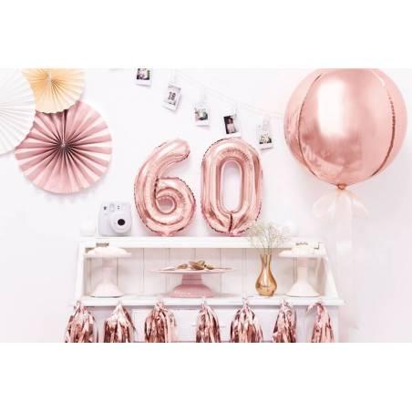 Ballon en aluminium numéro 6 35cm or rose