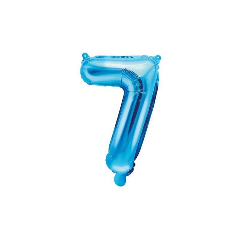 Ballon en aluminium numéro 7 35cm bleu