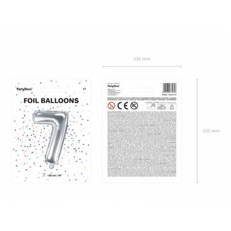 Ballon en aluminium numéro 7 35cm argent