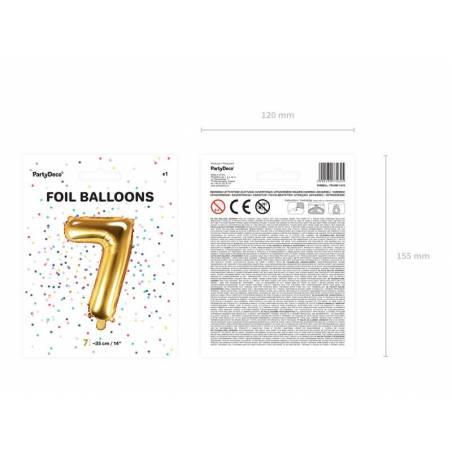 Ballon en aluminium numéro 7 35cm doré