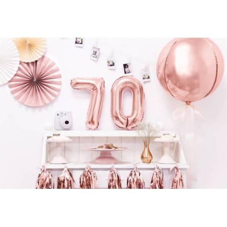 Ballon en aluminium numéro 7 35cm or rose