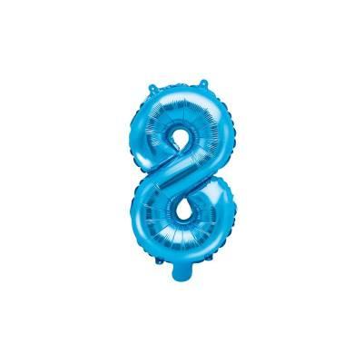 Ballon en aluminium numéro 8 35cm bleu