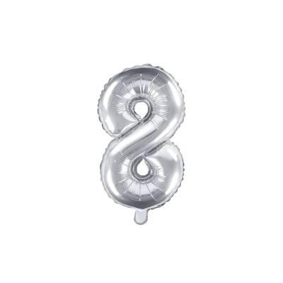 Ballon en aluminium numéro 8 35cm argent