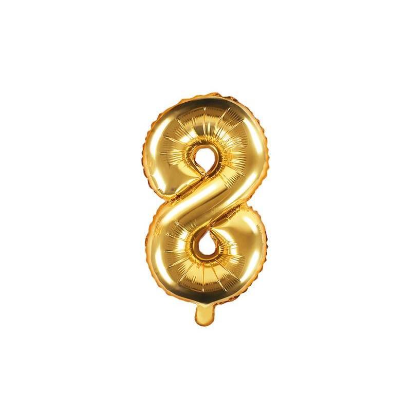 Ballon en aluminium numéro 8 35cm doré