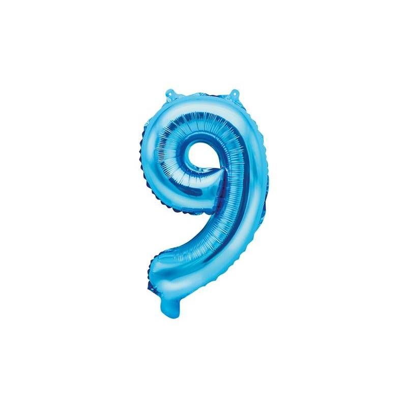 Ballon en aluminium numéro 9 35cm bleu