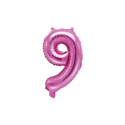 Ballon d'aluminium numéro 9 35cm rose foncé