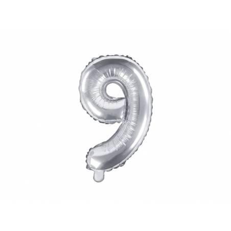 Ballon en aluminium numéro 9 35cm argent