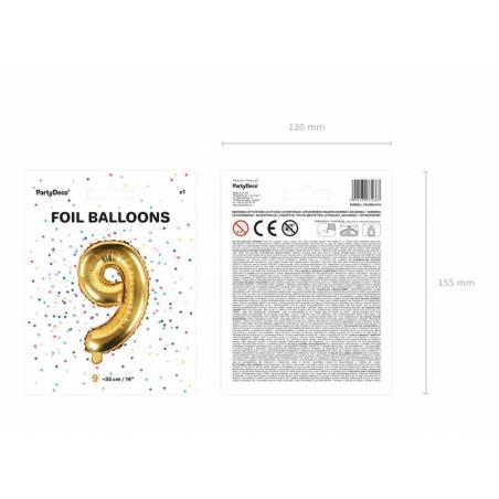 Ballon en aluminium numéro 9 35cm doré