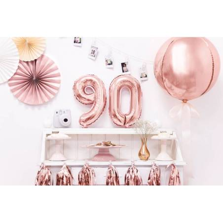 Ballon Feuille numéro 9 35cm or rose