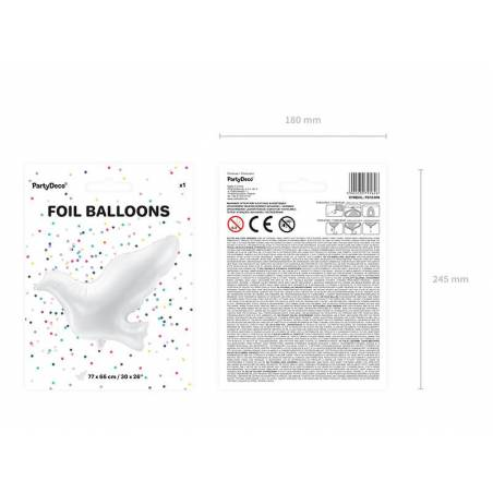 Tourterelle en ballon blanche 77x66cm