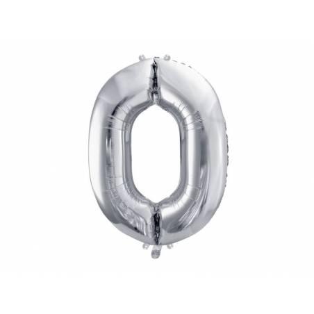 Ballon en aluminium numéro 0 86cm argent