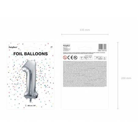 Ballon en aluminium numéro 1 86cm argent