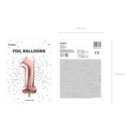 Foil Ballons Number 1 86cm or rose