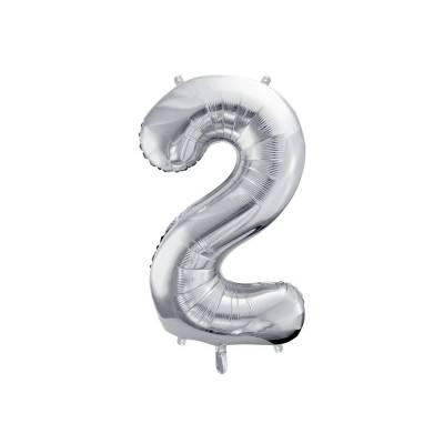 Ballon en aluminium numéro 2 86cm argent