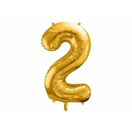 Ballon en aluminium numéro 2 86cm doré