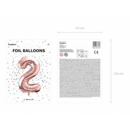 Ballon en aluminium numéro 2 86cm or rose