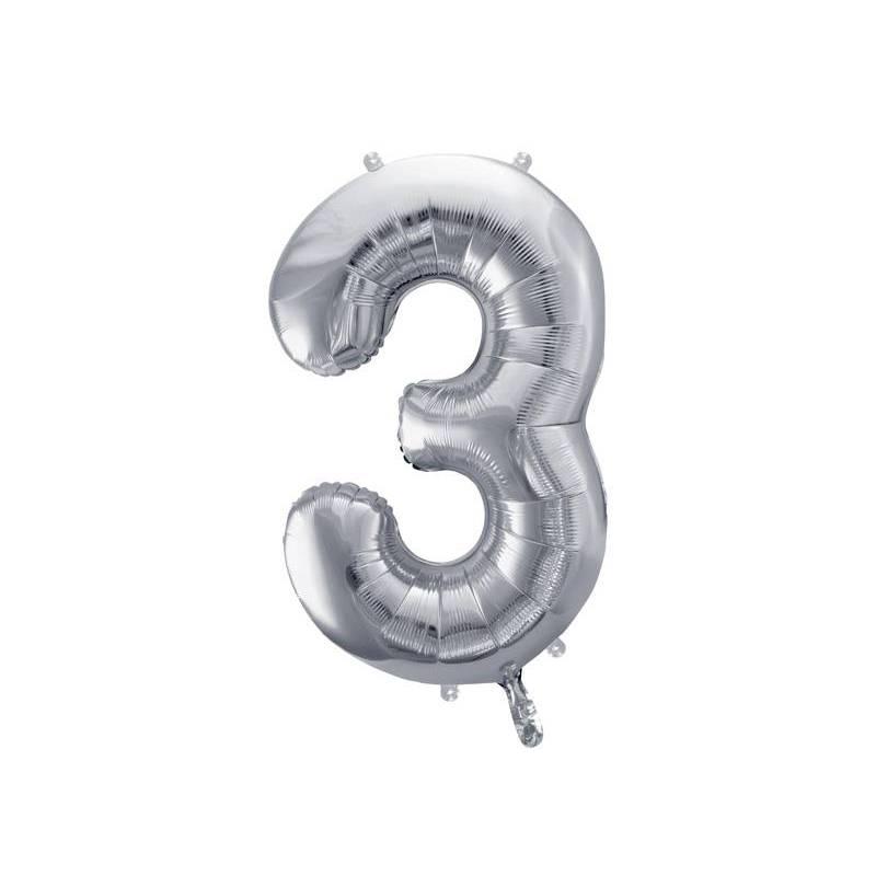 Ballon en aluminium numéro 3 86cm argent