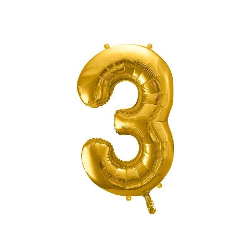Ballon Feuille numéro 3 86cm doré