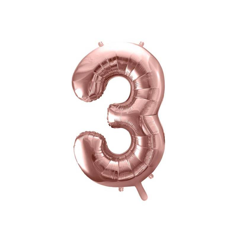 Ballon Feuille numéro 3 86cm or rose