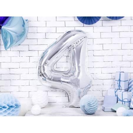 Ballon en aluminium numéro 4 86cm argent