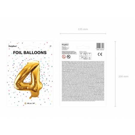 Ballon en aluminium numéro 4 86cm doré