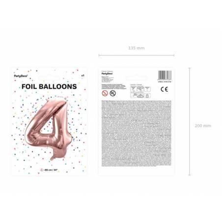 Ballon Feuille numéro 4 86cm or rose
