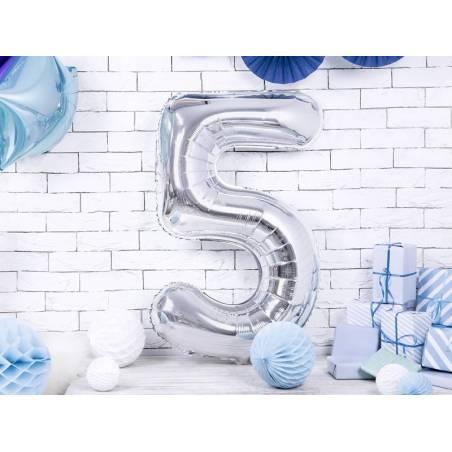 Ballon d'aluminium numéro 5 86cm argent
