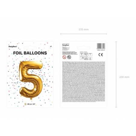 Ballon en aluminium numéro 5 86cm doré