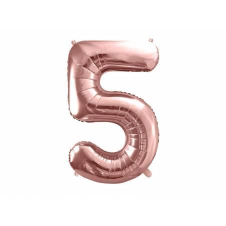 Ballon en aluminium numéro 5 86cm or rose