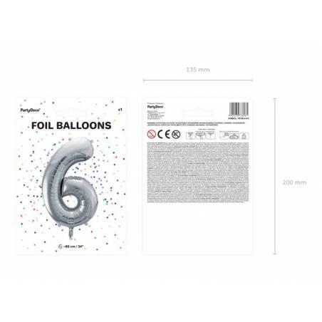 Ballon en aluminium numéro 6 86cm argent