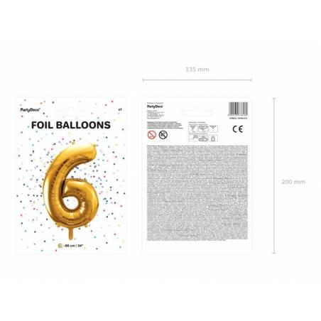 Ballon en aluminium numéro 6 86cm doré