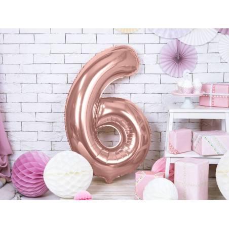 Ballon d'aluminium numéro 6 86cm or rose